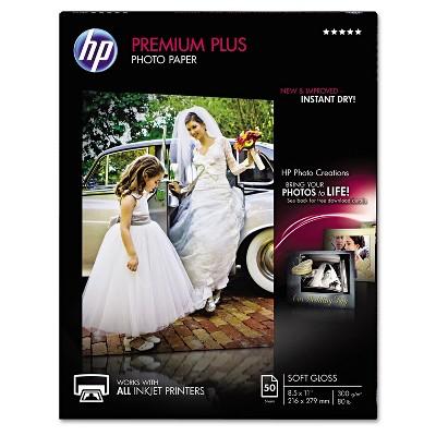 HP Premium Plus Photo Paper 80 lbs. Soft-Gloss 8-1/2 x 11 50 Sheets/Pack CR667A