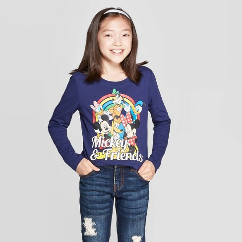 Girls' Mickey Mouse & Friends Rainbow Long Sleeve T-Shirt - Navy - image 1 of 3