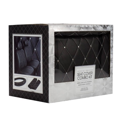 LUNNA 5pc Diamond Black Seat Cover Combo Kit Embellished with Swarovski Crystals - image 1 of 4