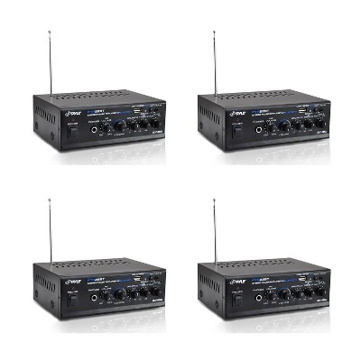 Pyle PTA22BT Mini Compact Bluetooth 80 Watt 2 Channel Home Audio Amplifier Stereo Receiver Sound System with Microphone Input (4 Pack)