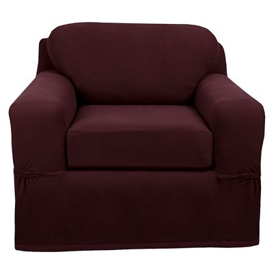 2pc Pixel Chair Stretch Slipcover Current Wine - Zenna Home