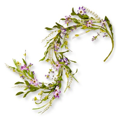 Artificial Spring Purple Flower Garland (5') - National Tree Company