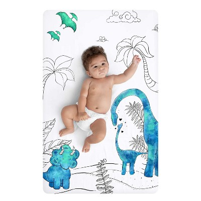 """JumpOff Jo Fitted Mini Crib Sheet, Cotton Crib Sheet for Miniature Sized Crib Mattresses, Hypoallergenic and Breathable, 24"""" x 38"""", Tiny Dinosaur"""