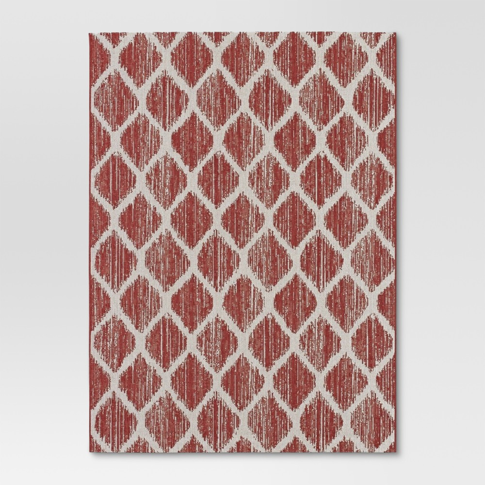 Brushed Diamond Red Outdoor Rug - 9'x12' - Threshold