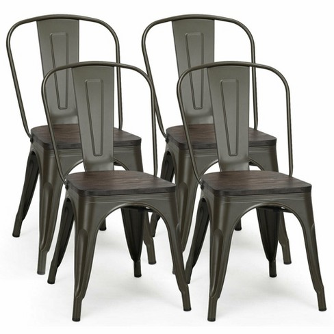 Costway Set Of 4 Tolix Style Metal, Target Tolix Chairs Comfortable
