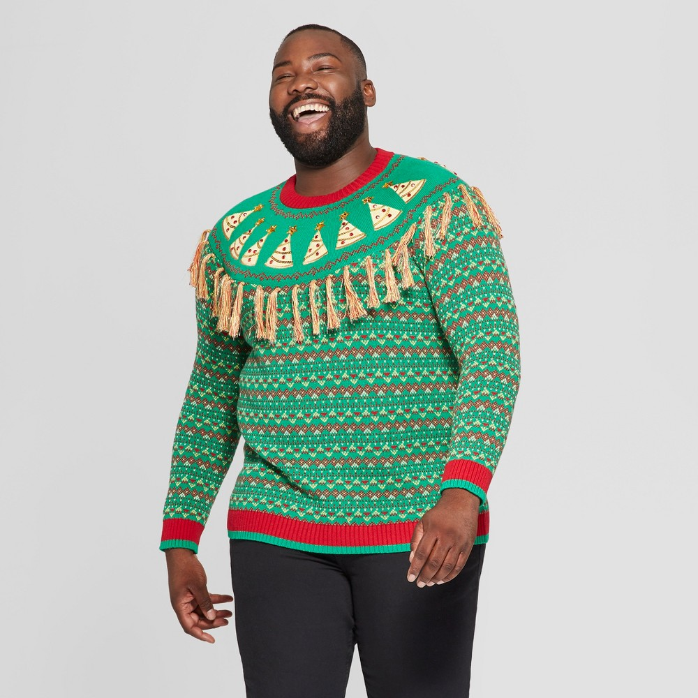 33 Degrees Men's Big & Tall Ugly Holiday Christmas Pizza Fringe Yoke Fairisle Long Sleeve Pullover Sweater - Red 2XBT