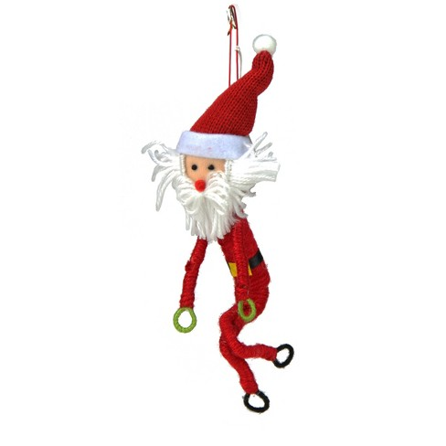 """Gallerie 9"""" Wrap it Up Posable Santa Claus Christmas Ornament - Red/White - image 1 of 1"""