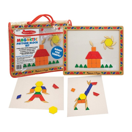 Melissa & Doug Deluxe Wooden Magnetic Pattern Blocks Set - Educational Toy With 120 Magnets and Carrying Case image number null