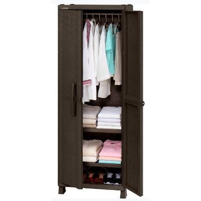 Resin Rattan Wardrobe Cabinet Brown - Inval