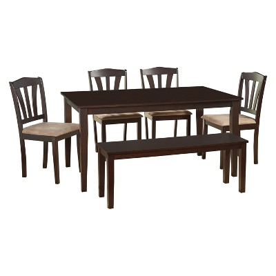 6pc Mainfield Dining Set with Bench - Espresso Brown - Buylateral