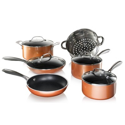 Gotham Steel Cast Textured Copper 10pc Cookware Set