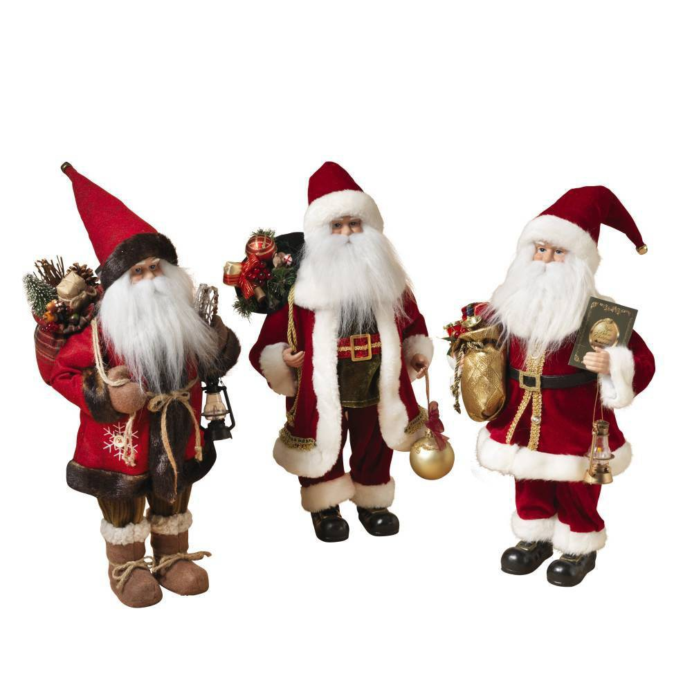 "Image of ""18""""/3ct Santa Decorative Figurine Set - Gerson International, Red Multicolored"""