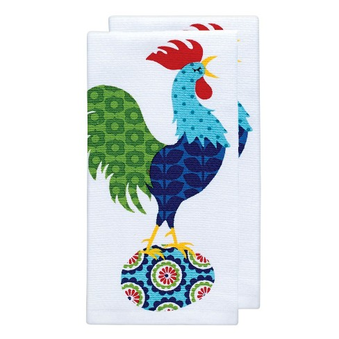 "Teal Rooster Print Kitchen Towel (16""x26"") T-Fal - image 1 of 2"