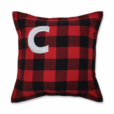 "17""x17"" Buffalo Plaid 'C' Throw Pillow Red/Black - Pillow Perfect"