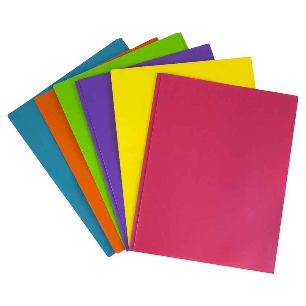 Jam Paper, Plastic Eco Folders with Clasp, Assorted Fashion, 6pk, Multicolor Rainbow