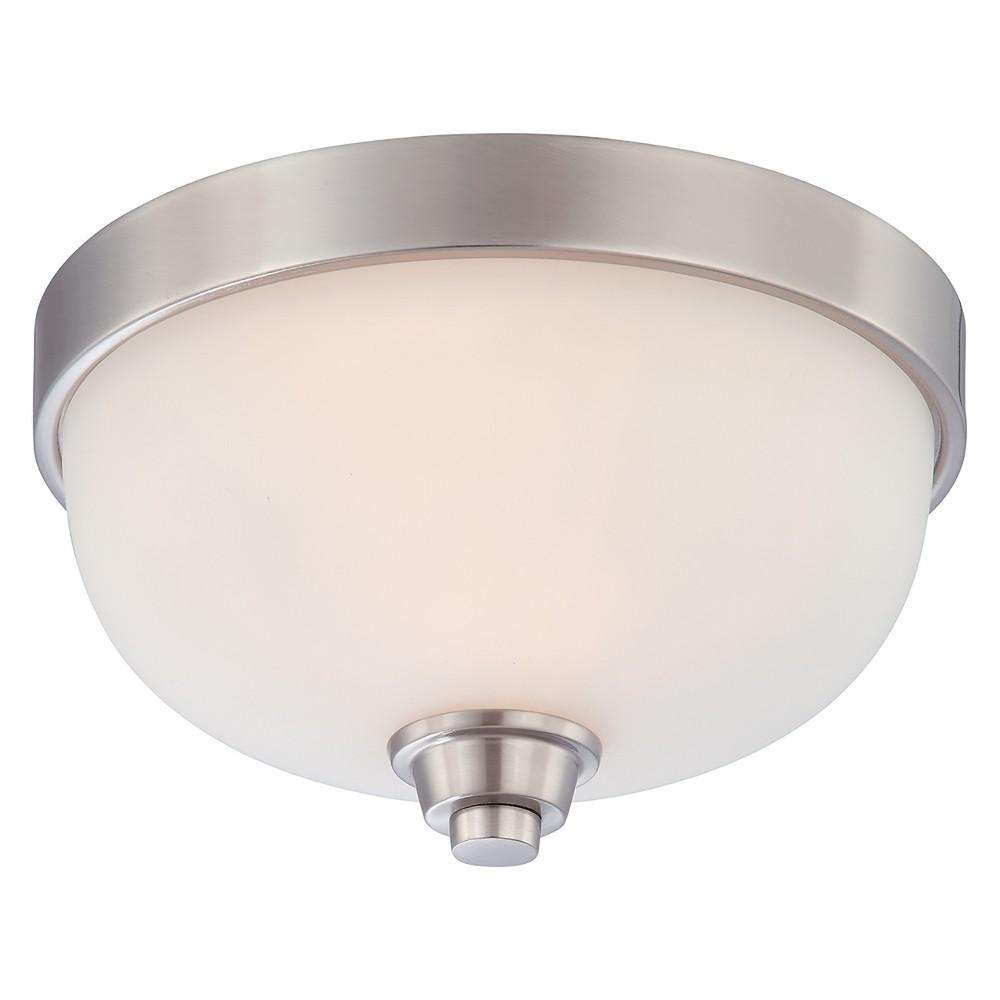 Image of Aurora Lighting 1 Light Brushed Flush Mount Ceiling Lights Nickel