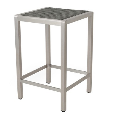Cape Coral Square Aluminum Bar Table - Gray - Christopher Knight Home