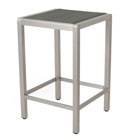 Cape Coral Square Aluminum and Wicker Bar Table - Gray - Christopher Knight Home - image 1 of 4