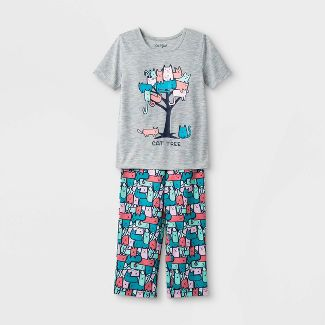 Toddler Girls Cat Tree Pajama Set - Cat & Jack™ Gray/Blue 3T