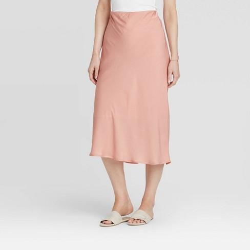 Women's Mid-Rise Satin Slip Skirt - A New Day™ - image 1 of 3