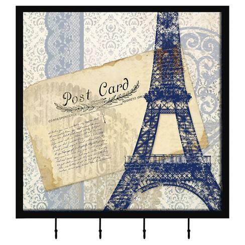 Paris Postcard I Decorative Box With Metal Hooks - image 1 of 1