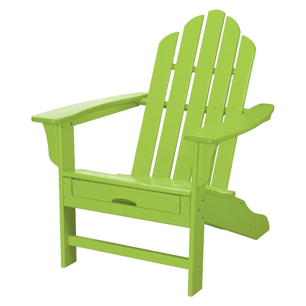 Hanover Outdoor All-Weather Adirondack Chair with Attached Ottoman - Lime (Green)