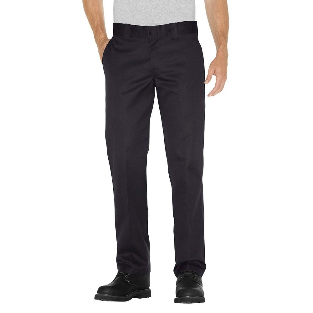 Dickies Men's Slim Straight Fit Twill Pants- Black 32x32