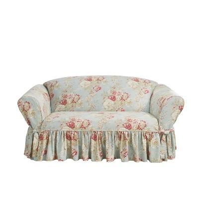 Enjoyable Ballad Bouquet Loveseat Slipcover Waverly Theyellowbook Wood Chair Design Ideas Theyellowbookinfo