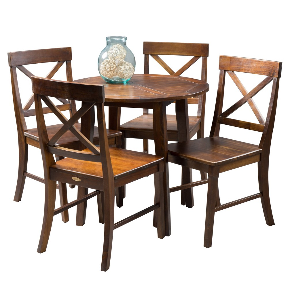 Carridge 5pc Round Wood Dining Set Rich Mahogany (Brown) - Christopher Knight Home