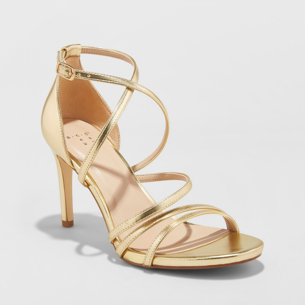 Women's Gal Strappy Stiletto Heeled Pumps - A New Day Gold 10