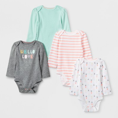Baby Girls' 4pk Long sleeve Bodysuit - Cloud Island™ Mint 3-6M