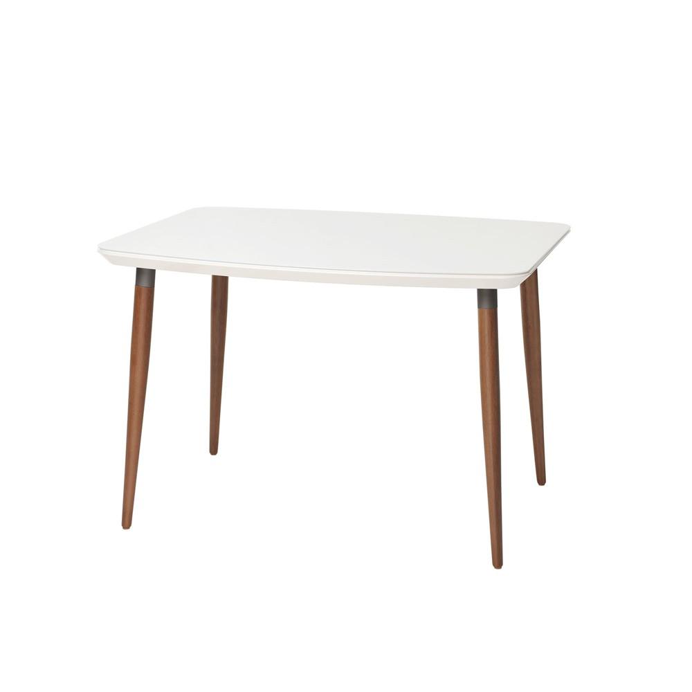 45.27 Charles Modern Round Edge Rectangular Dining Table with Glass Top Maple Cream/Gloss White - Manhattan Comfort
