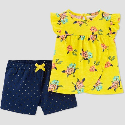 Baby Girls' 2pc Floral Top & Bottom Set - Just One You® made by carter's Yellow 3M