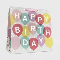 """Happy Birthday"" Balloon Girls Square Gift Bag - Spritz™"