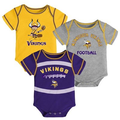 NFL Minnesota Vikings Baby Boys' Newest Fan 3pk Bodysuit Set - 0-3M