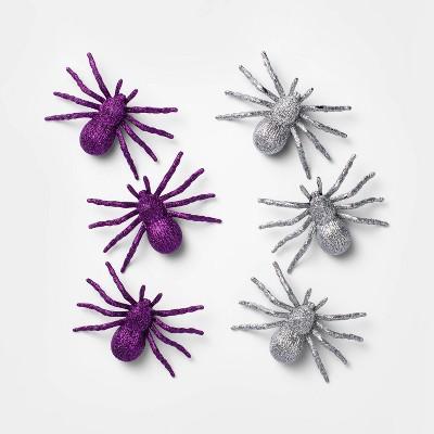 6ct Purple/Silver Glitter Spider Halloween Decorative Props - Hyde & EEK! Boutique™