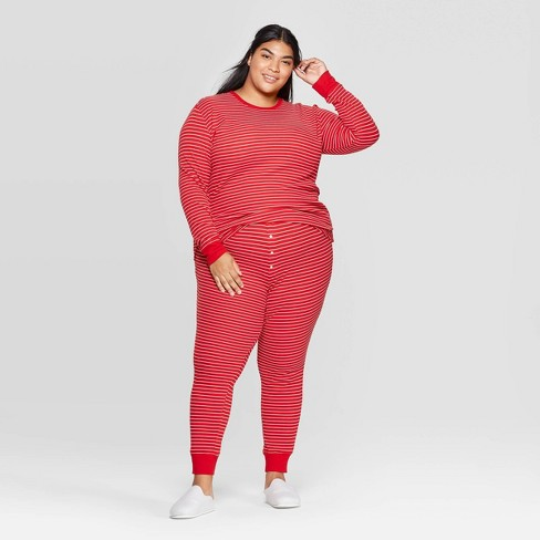 Women's Plus Sized Striped Thermal Sleep Pajama Set - Stars Above™ Red - image 1 of 2