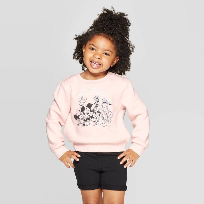 Toddler Disney Girls' Marvel Fleece Crewneck Sweatshirt - Light Coral - image 1 of 3
