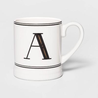 16oz Stoneware Monogram Mug Cream A - Threshold™