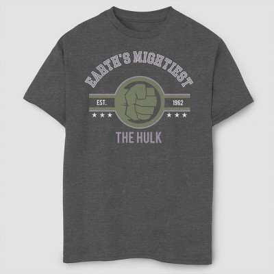 Boys' Marvel Mighty Hulk Short Sleeve T-Shirt- Charcoal Heather