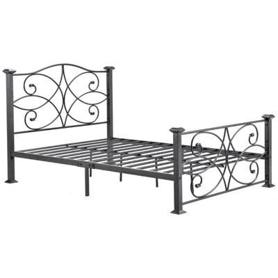 Complete Metal Full Size Bed in Black Silver - Hodedah