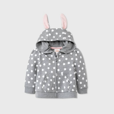 Baby Girls' Bunny Polka Dots Hoodie - Cat & Jack™ Heather Gray 0-3M