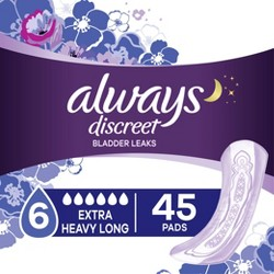 Always Discreet Incontinence and Postpartum Pads for Women - Extra Heavy Absorbency - Long Length - 45ct