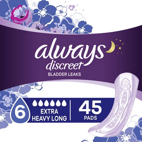 Always Discreet Incontinence and Postpartum Pads for Women - Extra Heavy Absorbency - Long Length - 45ct - image 1 of 4
