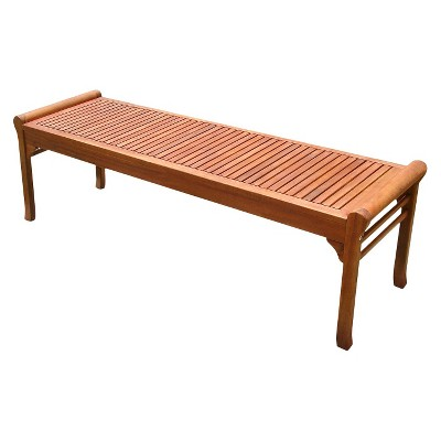 Vifah Backless Wood Outdoor Bench - Brown