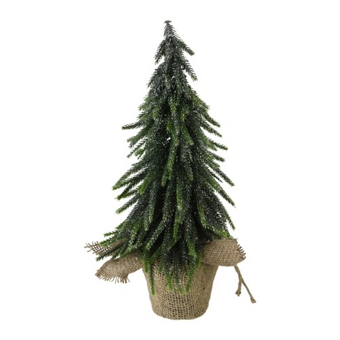 """Northlight 14"""" Green Glitter Weeping Mini Pine Christmas Tree in Burlap Covered Vase - Unlit - image 1 of 4"""