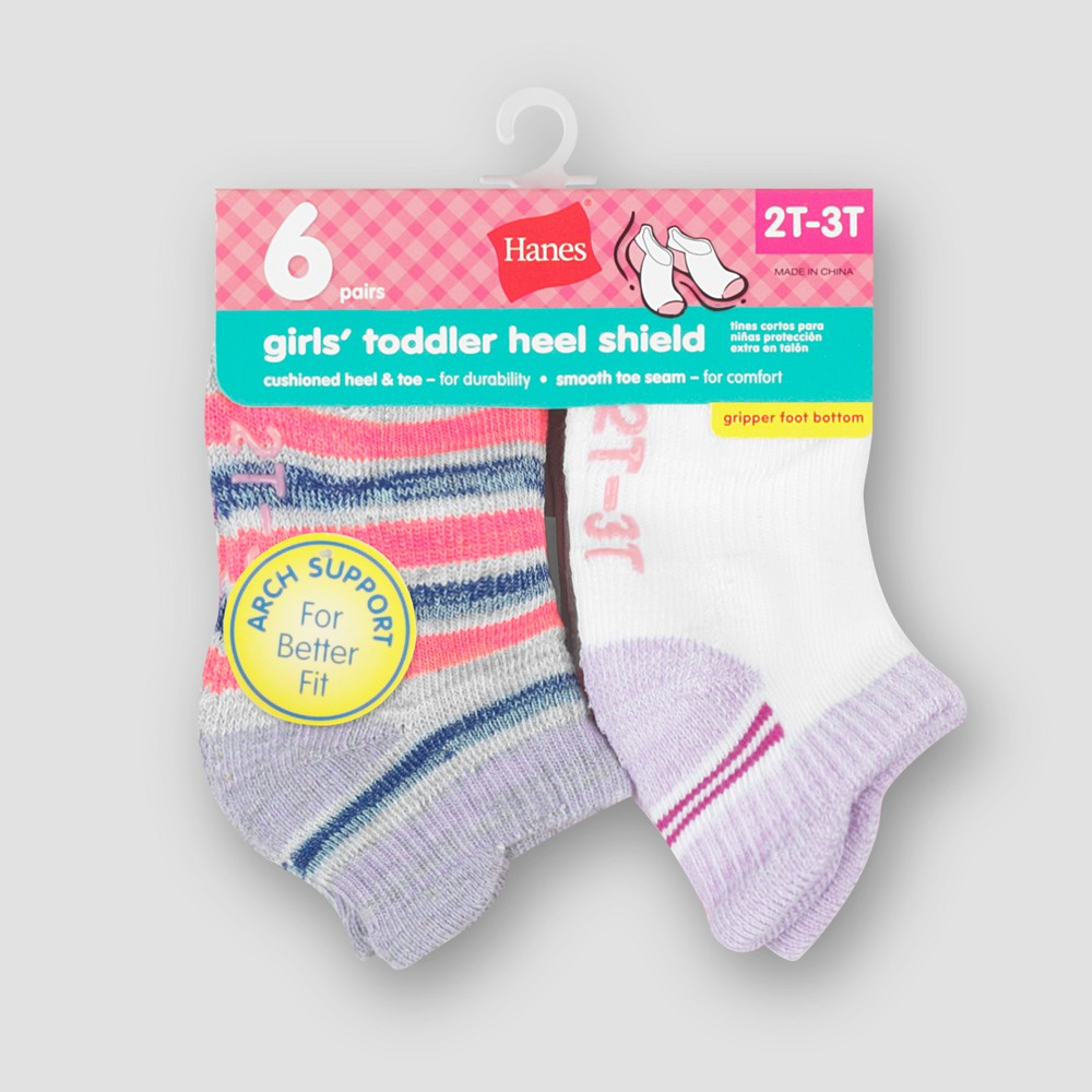 Image of Baby Girls' Hanes 6pk Heel Shield Socks - Colors May Vary 12-24M, Girl's, MultiColored