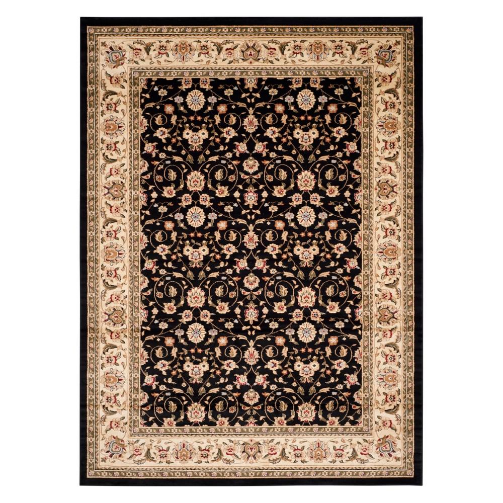9'X12' Floral Loomed Area Rug Black/Ivory - Safavieh