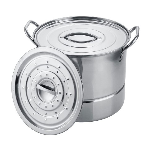 Alpine Cuisine 6.5 Quart Stainless Steel Stock Steamer Stovetop Cooking Pot 3 Piece Cookware Set for Home Kitchen with Steamer Lid - image 1 of 4