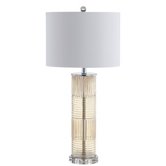 "30"" Genevieve Glass/Crystal LED Table Lamp Champagne (Includes Energy Efficient Light Bulb) - JONATHAN Y"